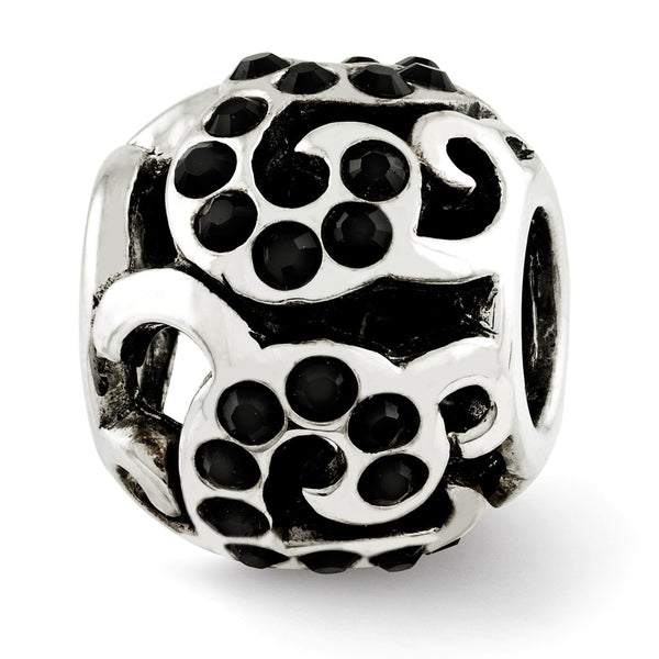 Sterling Silver Reflections Black Swarovski Crystal Swirl Bead
