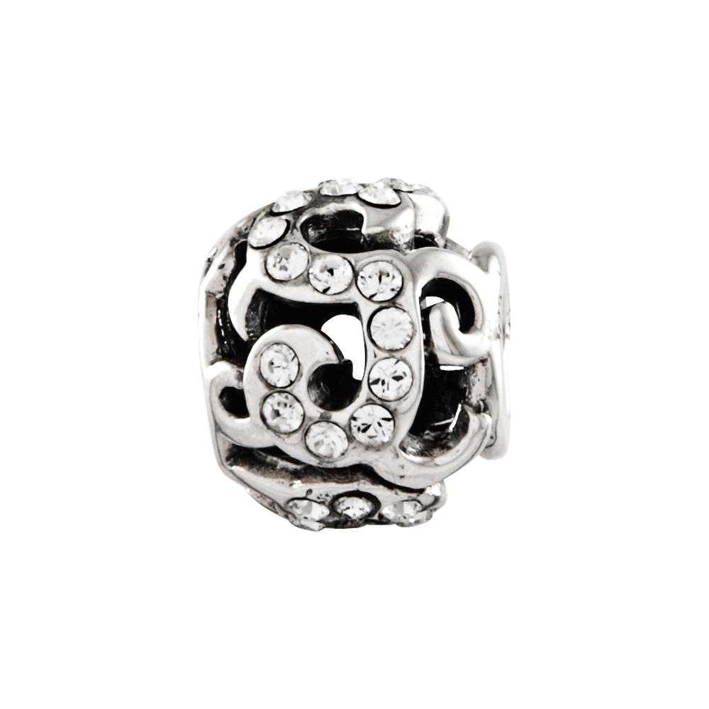 Sterling Silver Reflections Swarovski Crystal Swirl Bead