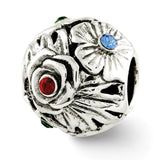 Sterling Silver Reflections Multicolor Swarovski Crystal Flower Bead