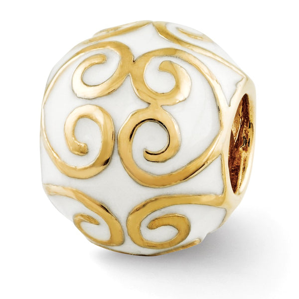 Sterling Silver Reflections Gold-plated & Enameled Bali Bead