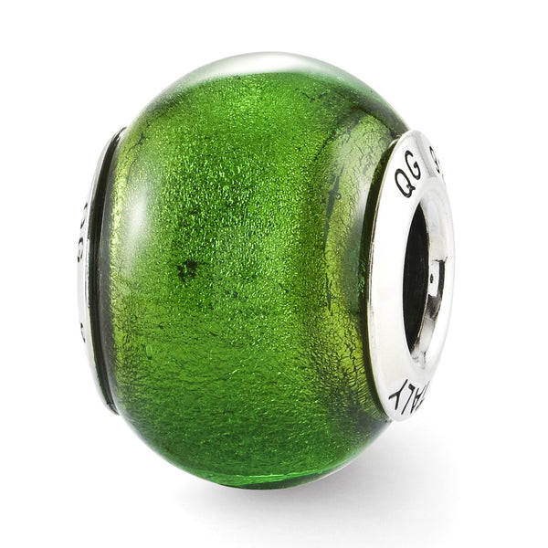 Sterling Silver Reflections Green Italian Murano Glass Bead
