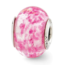 Load image into Gallery viewer, Sterling Silver Reflections Pink Italian Murano Glass Bead