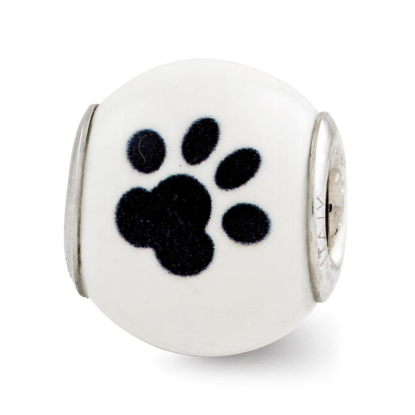 Sterling Silver Reflections Enameled Cat Theme Bead