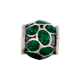 Sterling Silver Reflections Green Enamel w/Sparkles Bead
