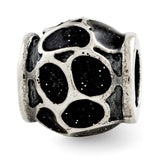 Sterling Silver Reflections Black Enamel w/Sparkles Bead