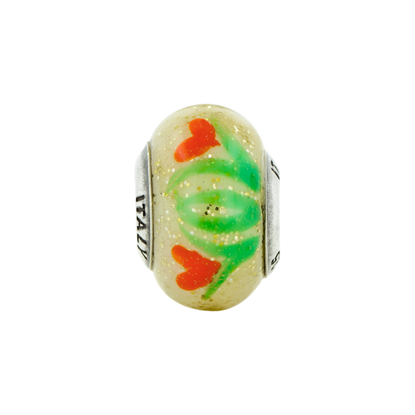 Sterling Silver Reflections Yellow w/Orange Flowers Italian Murano Bead