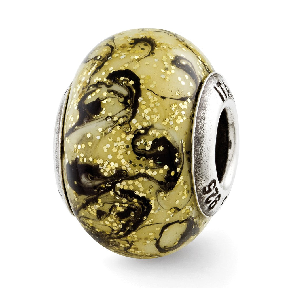 Sterling Silver Reflections Yellow w/Black Swirls Italian Murano Bead