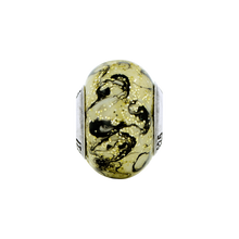 Load image into Gallery viewer, Sterling Silver Reflections Yellow w/Black Swirls Italian Murano Bead