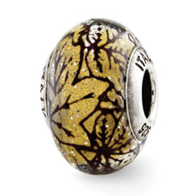 Load image into Gallery viewer, Sterling Silver Reflections Yellow w/Black Lines Italian Murano Glass Bead