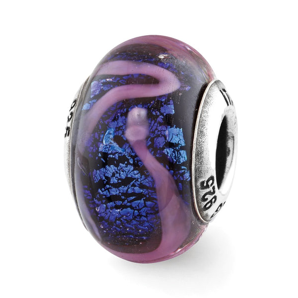 Sterling Silver Reflections Blue w/Purple Swirls Glass Bead