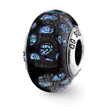 Load image into Gallery viewer, Sterling Silver Reflections Blue Dots Glass Bead
