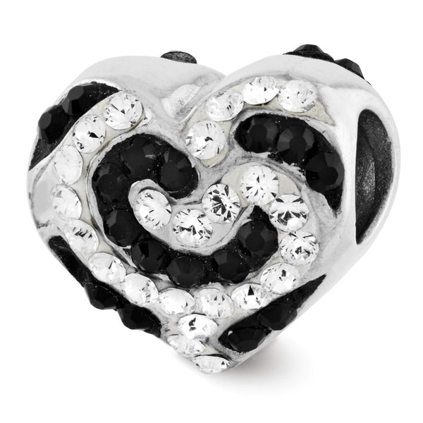Sterling Silver Reflections Black & White Swarovski Crystal Bead