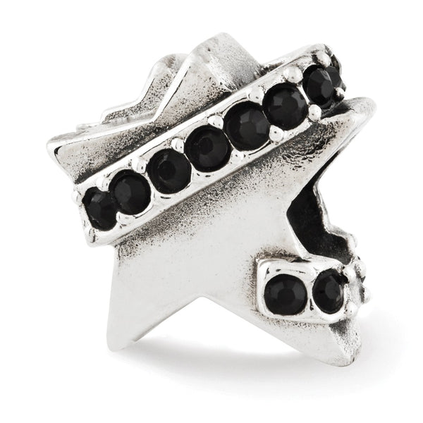 Sterling Silver Reflections Star w/Black Swarovski Crystal Bead
