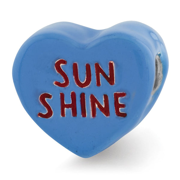 Sterling Silver Reflections Kids Sun Shine Enameled Heart Bead