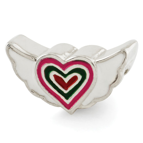 Sterling Silver Reflections Kids Enameled Heart w/Wings Bead