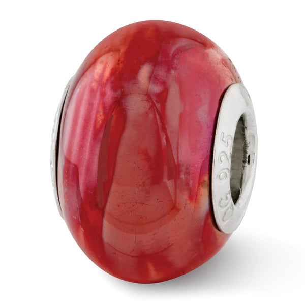 Sterling Silver Reflections Orange/Pink Ceramic Bead