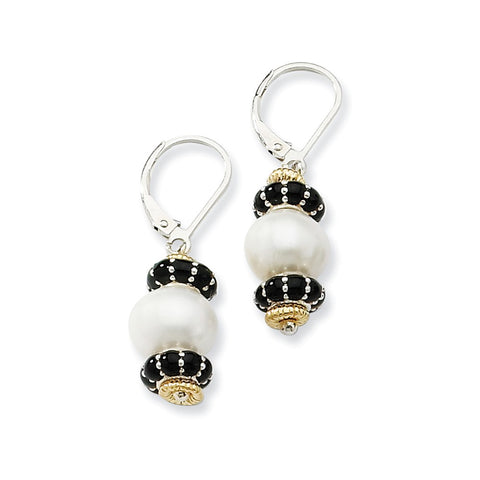 Sterling Silver w/14k 9.5mm FW Cultured Pearl & Enameled Bead Ear