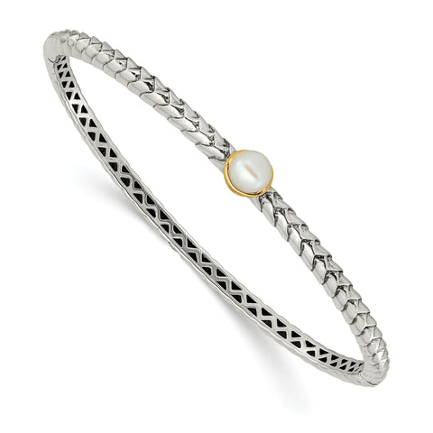 Sterling Silver With14K 6mm FW Cultured Pearl Bangle Bracelet