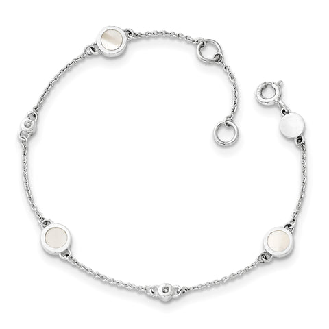 SS White Ice .02ct Diamond and MOP Bracelet