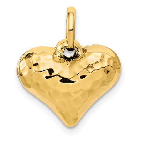 14K Faceted Puffed Heart Pendant