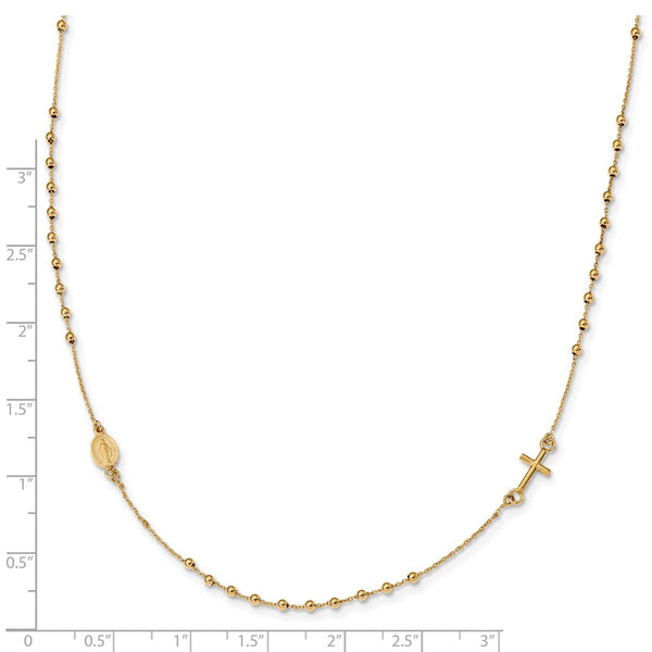 14K Polished 16in Cross Rosary Necklace
