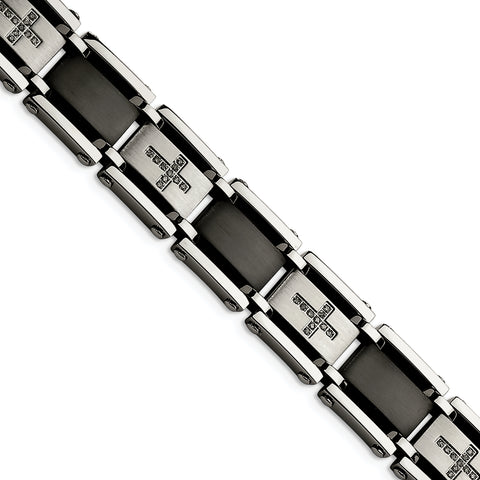 Stainless Steel Black IP-plated & 1/4ct. Diamond 8.75in Bracelet
