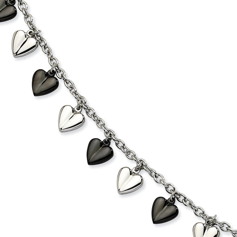 Stainless Steel Black IP-plated & Polished Hearts Bracelet