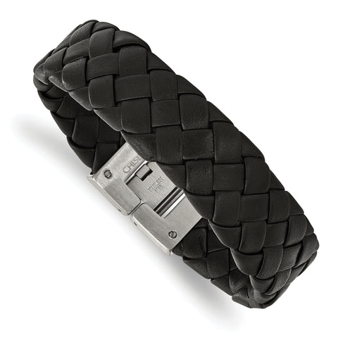 Stainless Steel Brushed Black Leather 8.5 in Bracelet