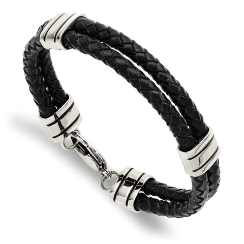 Stainless Steel Black Leather 9in Bracelet