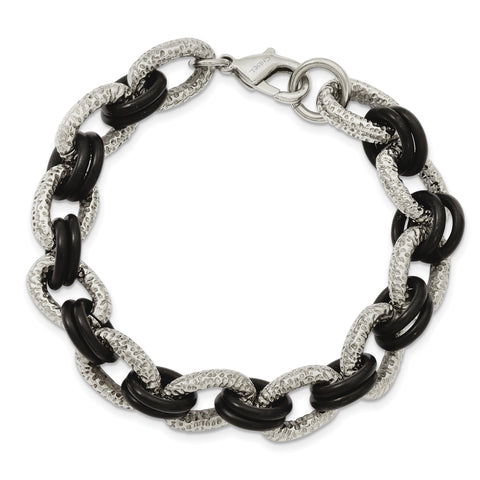 Stainless Steel Textured & Black Rubber 9in Bracelet