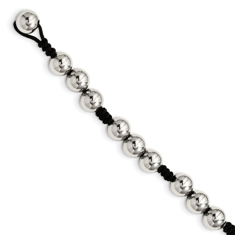 Stainless Steel Polished Beads & Black Fabric 7.5in Bracelet
