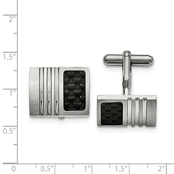 Stainless Steel Brushed Black Carbon Fiber Inlay Cuff Links