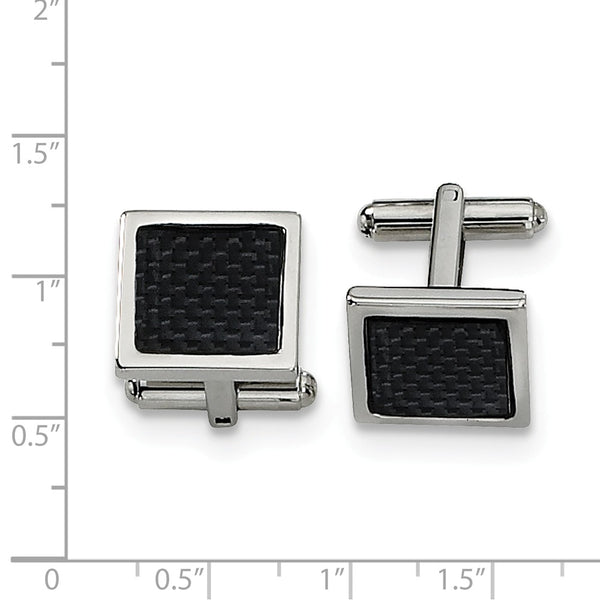 Stainless Steel Black Carbon Fiber Cuff Links