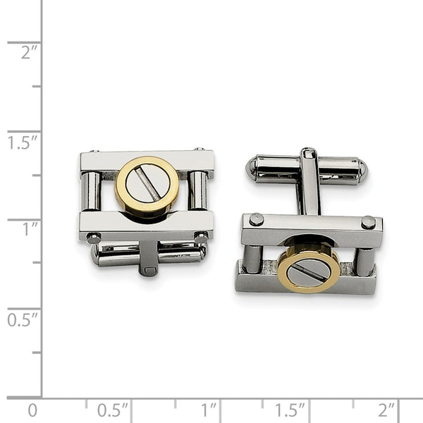 Stainless Steel Yellow IP-plated Cuff Links