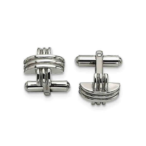Stainless Steel Fancy X Cuff Links