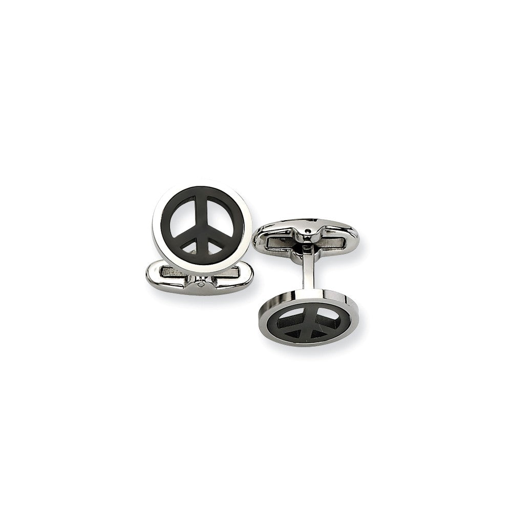 Stainless Steel Black-plated Peace Symbol Cuff Links