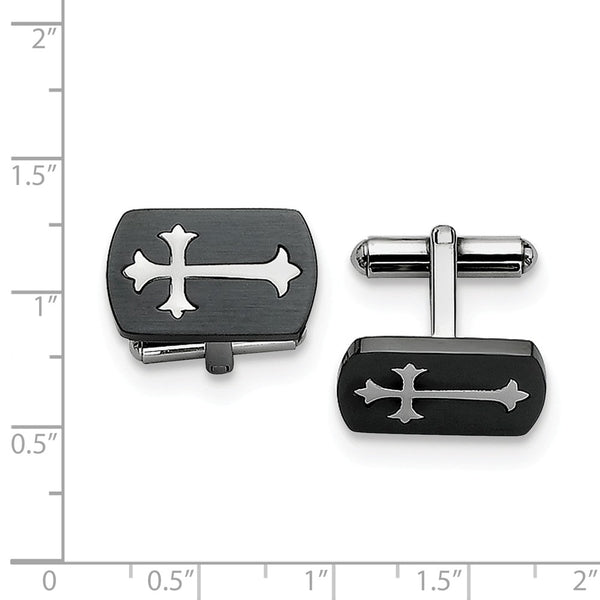 Stainless Steel Brushed Black IP-plated with Polished Cross Cuff Links
