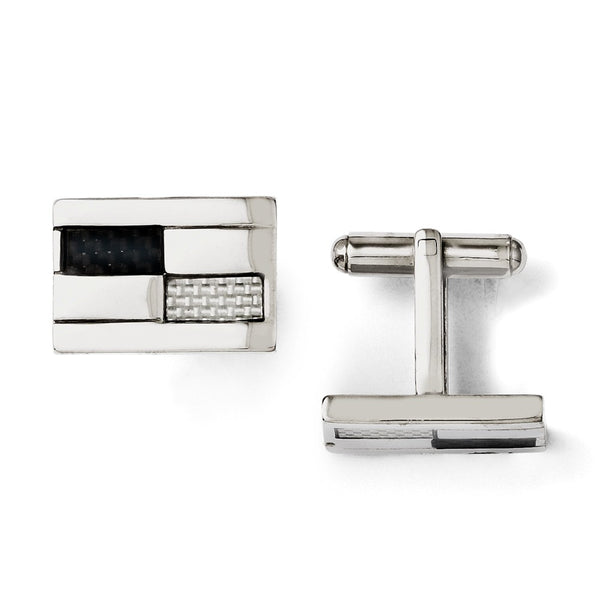 Stainless Steel Polished Black & Grey Carbon Fiber Inlay Cuff Links