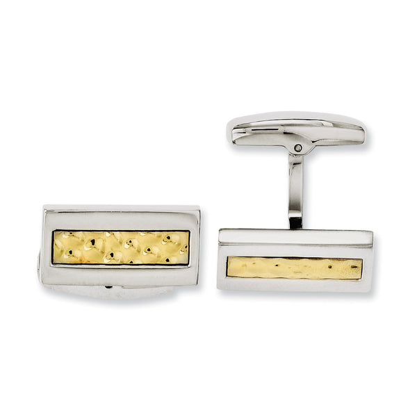 Stainless Steel Yellow IP-plated Textured & Polished Cuff Links