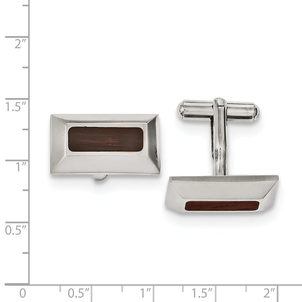 Stainless Steel Wood Inlay Cuff Links