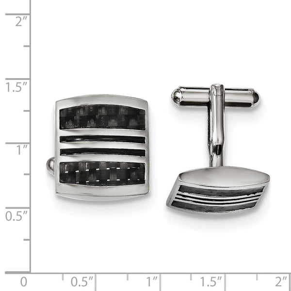 Stainless Steel Polished With  Black Carbon Fiber Inlay & Enamel Cuff Links