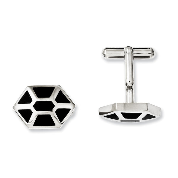 Stainless Steel Black Enamel & Polished Cuff Links