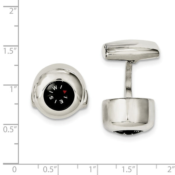 Stainless Steel Functional Compass Cuff Links