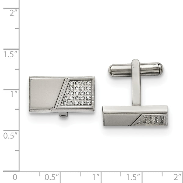 Stainless Steel Polished with Cubic Zirconia Cuff Links
