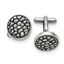 Load image into Gallery viewer, Stainless Steel Antiqued and Textured Cuff Links