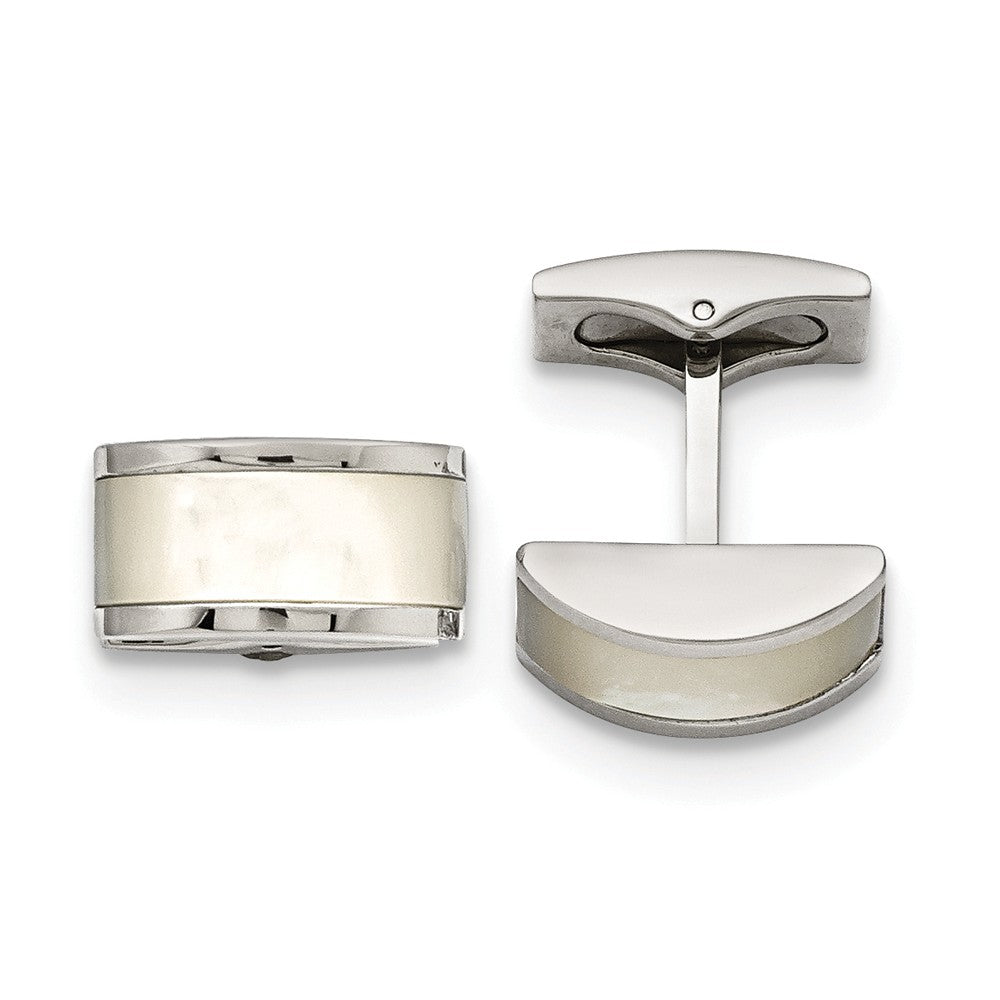 Stainless Steel Polished Cat's Eye Cuff Links