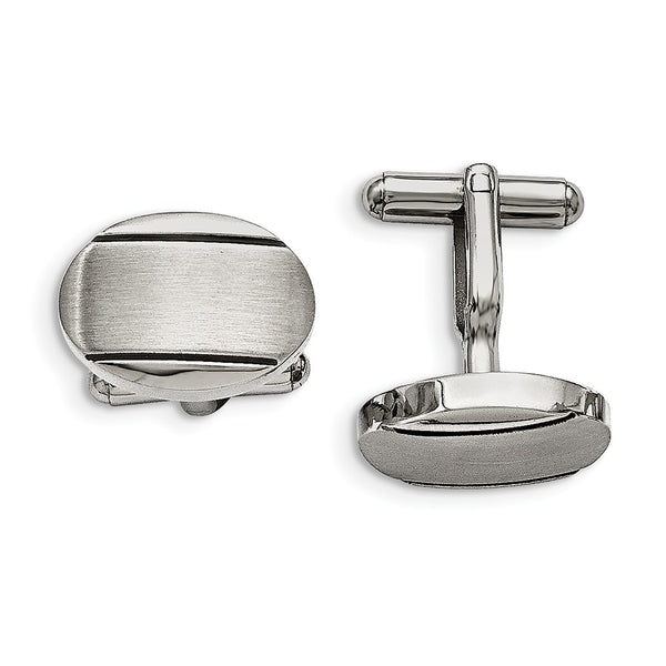 Stainless Steel Polished/Brushed and Enameled Oval Cuff Links