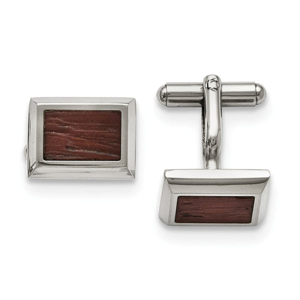 Stainless Steel Polished with Wood Inlay Cuff Links