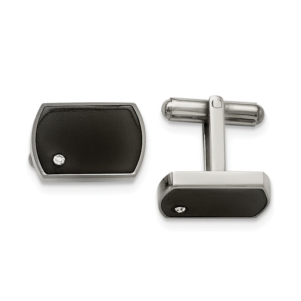 Stainless Steel Polished Black Enamel and Cubic Zirconia Cuff Links