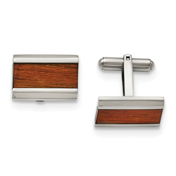 Stainless Steel Polished Red/Orange Wood Inlay Cuff Links